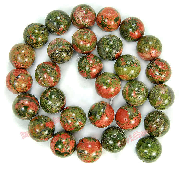 "Fctory Price Natural Stone Unakite Round Beads 16"" Strand 4 6 8 10 12MM Pick Size For Jewelry Making diy"
