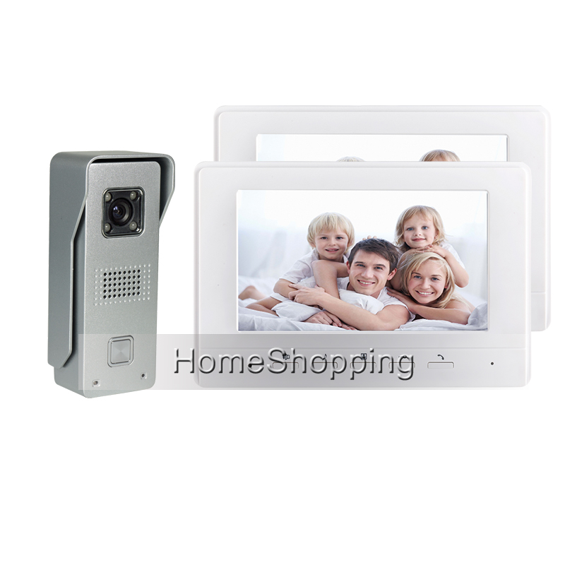 FREE SHIPPING BRAND Wired 7 Color Screen Video Door phone Intercom + Metal Door Bell Camera 2 White Monitor IN STOCK WHOLESALE brand new wired 7 inch color video intercom door phone set system 2 monitor 1 waterproof outdoor camera in stock free shipping