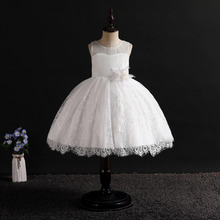 2019 New White Flower Girl Wedding Dress Kid Girls Birthday Party Ceremony Formal Ball Gown For 3-14Year Children Princess Dress new cute sleeveless criss cross back backless puffy tiered scoop neck white ball gown flower girl dress for wedding kid gown