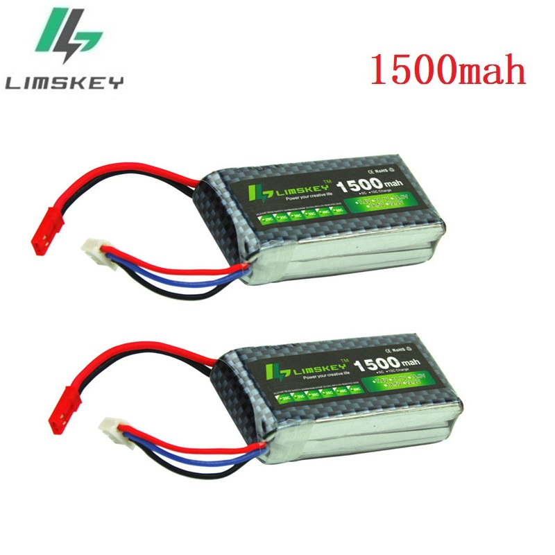Limskey Power 7.4V Lipo Battery 2s 1500mah 25C 25c 30C for RC Qudcopter Helicopter Airplane Car JST / T Plug Toy 2S Battery 2PCS image