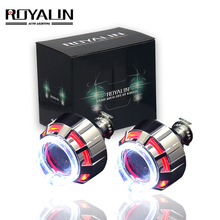 ROYALIN Mini Bi Xenon Projector Lens LED DRL Angel Eyes Double Halo Rings For Motorcycle Auto Head Light H4 H7 Use H1 bulbs 2.0