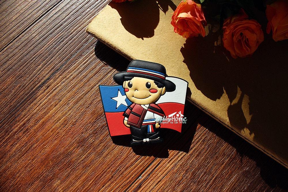 Chile Flag Little Boy Tourist Travel Souvenir Rubber Fridge Magnet GIFT IDEA