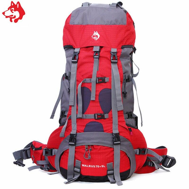 Haute qualité 75L rouge/bleu/jaune sac de sport en plein air magasin voyage randonnée Camping trekking sac 75L sac à dos