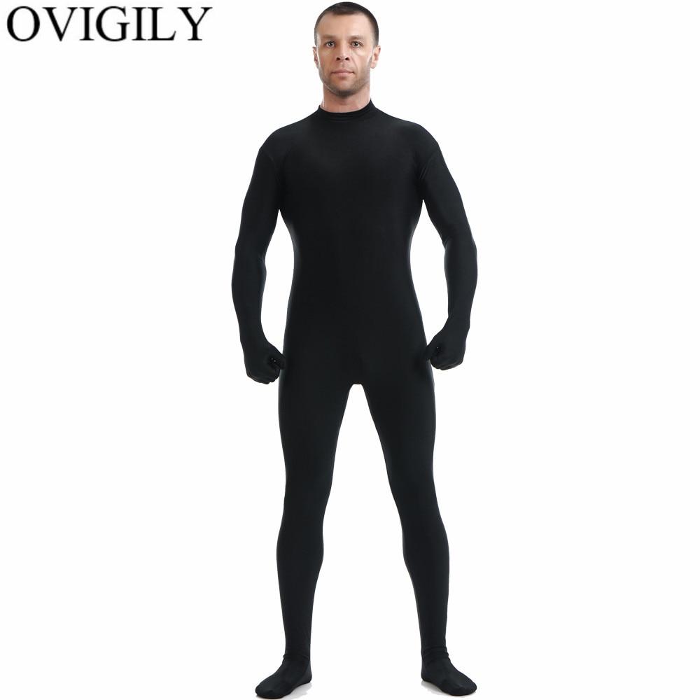 OVIGILY Mens Black Full Body Zentai Suit Spandex Lycra Turtleneck Bodysuits Nylon Skin Tights Unitards Cosplay Bodysuits No Hood