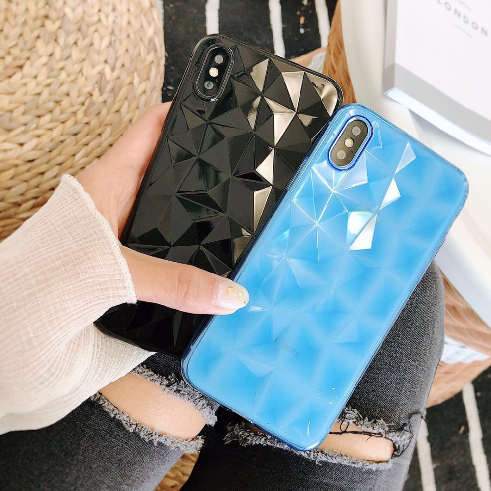 Soft TPU phone back cover for iphone7case Diamond pattern matte plain for iphone7plus case for iphone6 case 8 8plus siliconecase