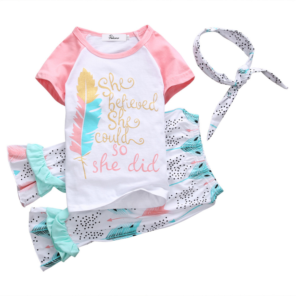 3pcs Fashion Baby Kids Girls Outfits Headband T-shirt Floral Ruffled Pants Clothes Set Age 1T-5T Feather Print Girls Clothing 3 pcs set girls baby clothing sets sleeveless shirt tops floral pants headband vogue clothes 2 6 year hot selling