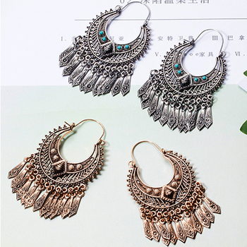 Hot golden silver color metal tassel dangle earrings Oversize pendientes  long geometric earrings for women ethnic indian jewelry   ... d66415c18a6dd