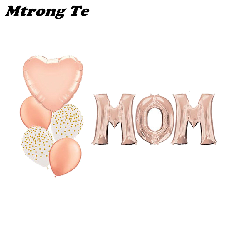 1set 16 Rose Gold MOM letters Heart Shape Balloon Mothers Day Decoration Helium Balloon inflatable air ball party supplies