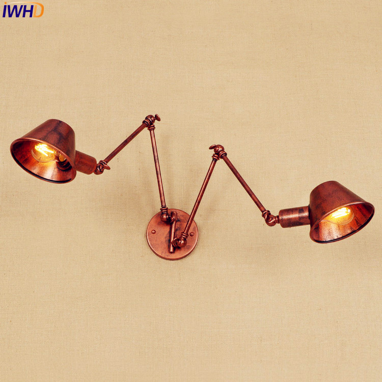 2 Heads Swing Long Arm Wall Lamp Vintage Lampen Loft Inustrial Wall Sconce Edison LED Stair Light Arandela Home Indoor Lighting loft nordic vintage wall lamp classic black art sconce decorative light adjustable arandela led swing 2 arm wall lights reading