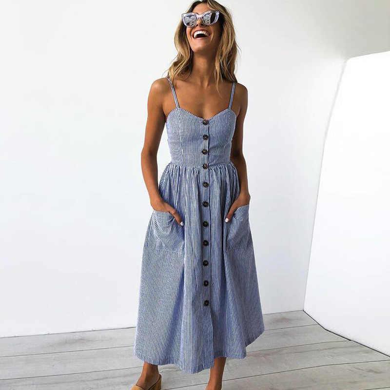 Casual Femminile Sundress Vestito da Estate Delle Donne 2020 Sexy Midi Vestito Dell'annata Delle Signore Abiti Backless Cinghie Plus Size Abiti Pulsante