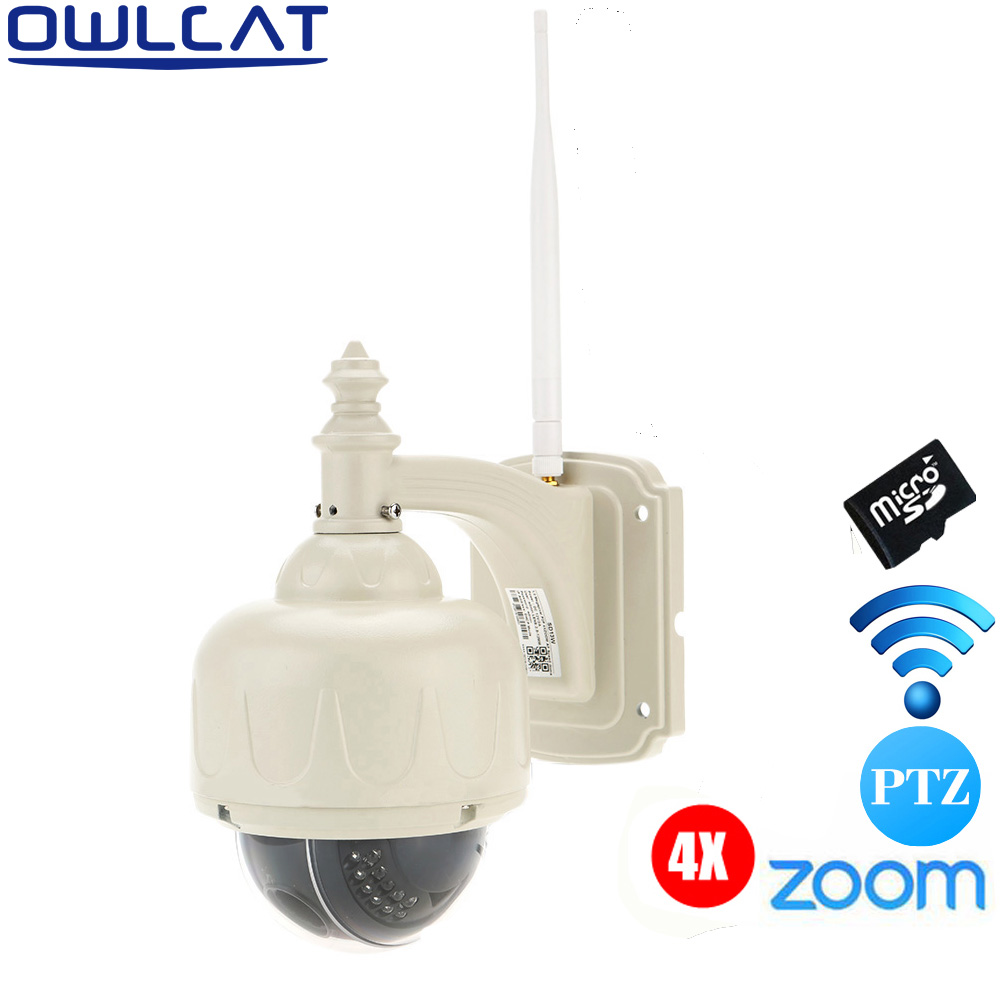 OwlCat HD 720P 1080P Wireless Outdoor CCTV PTZ Speed Dome WIFI IP Camera 2.8-12mm 4X Auto Focus Zoom Lens SD Card Security Cam 2016 outdoor 1080p wifi ptz camera array ir 2 8 12mm lens 4x optical zoom auto focus waterproof speed dome cam support sd card