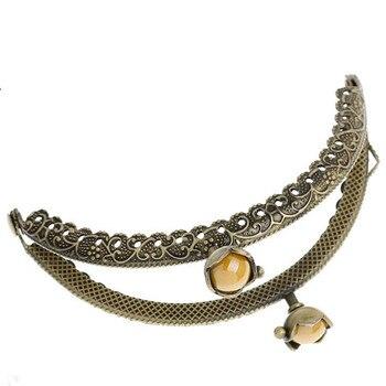 2Pcs Bronze Tone Lace Carved Arch Frame Kiss Clasps Lock Coin Purse Bag Handbag Handle Yellow Resin Flower Head 9x6cm