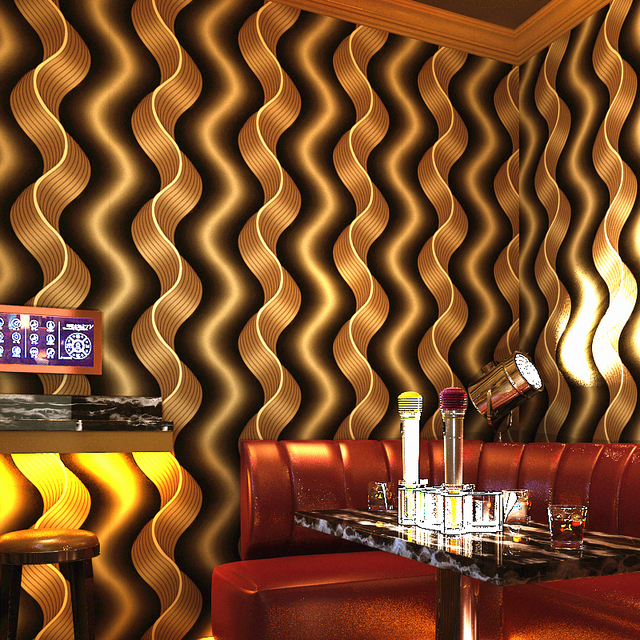 KTV Reflective Wallpapers Pop Vertical Stripes Wave Ballroom Theme Room Wallpaper 3D Wall Background Yellow Red