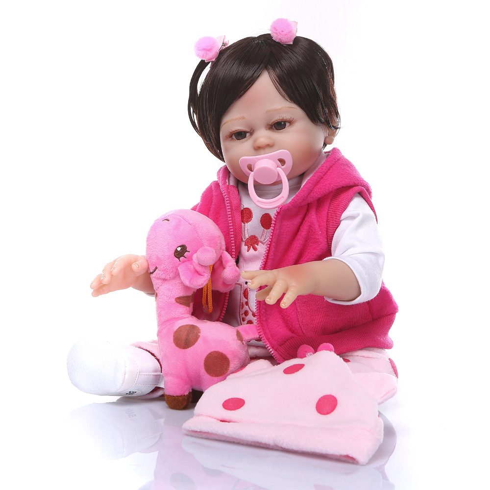 Nicery 19inch 48cm Bebe Reborn Doll Hard Silicone Boy Girl Toy Reborn Baby Doll Gift for Children Pink Coat Pink Giraffe nicery 18inch 45cm reborn baby doll magnetic mouth soft silicone lifelike girl toy gift for children christmas pink hat close