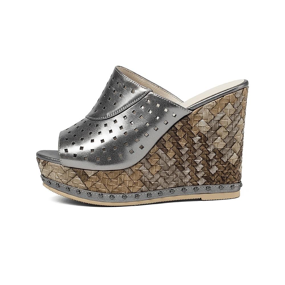 Asumer 2020 새로운 고품질 정품 가죽 여성 샌들 컷 아웃 웨지 하이힐 슬링 백 엿봄 발가락 여름 여성 신발-에서하이힐부터 신발 의  그룹 2
