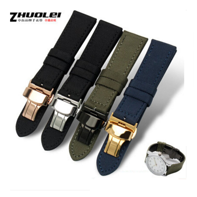 high quality Canvas Watchband Inner Genuine Leather Nylon Watch strap with butterfly buckle 18mm 20mm 22mm 24mm цена