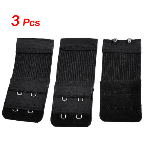 2017 Hot Style Hot Style 3pcs Woman 2 x 2 Hook and Eye Tape Elastic Extension Bra Extender Black