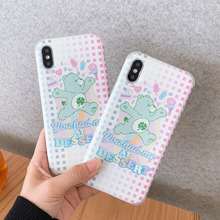 Rainbow bear case for iphone7 7plus xr Anti-knock Summer dessert care bears phone funda iphone 7 8plus 8 6 6s plus x xs max