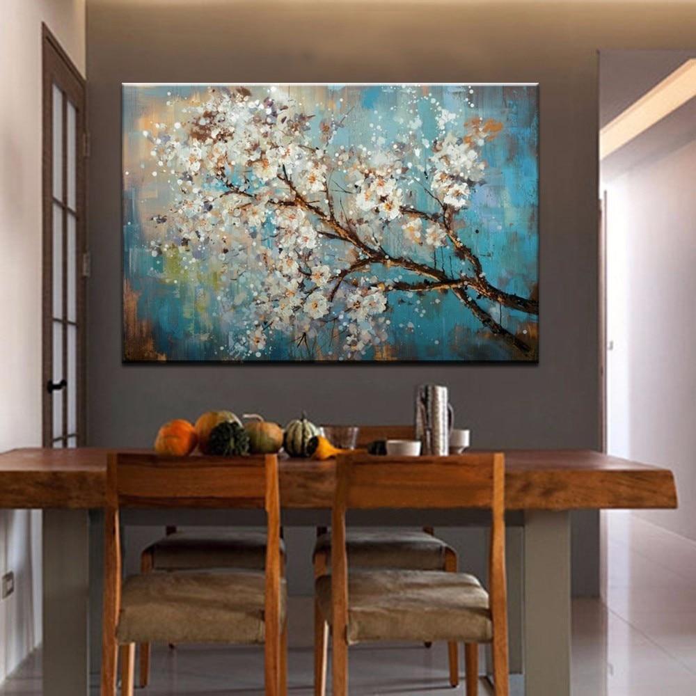 Mintura ручная роспись цветы и дерево Рисование современные картины маслом на холсте настенные картины для гостиной домашний Декор без рамки