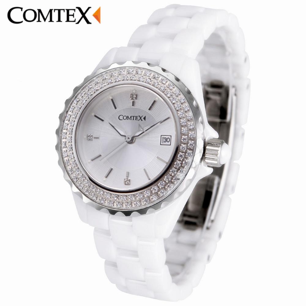 COMTEX Women Watch 2017 Design Fashion Casual Lady Watches Woman Luxury Band Ceramic Black Quartz Wristwatch Crystal Clock gift