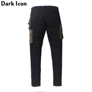Image 2 - Scuro Icona Strato Tasche High Street Jeans Carico Degli Uomini Del Denim Dei Pantaloni Pantaloni da Uomo Streetwear