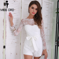 Missord 2017 Summer Sexy Long Sleeve Bow Women Solid Color Elegant Playsuit FT8483