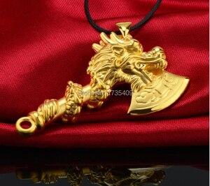Лучший подарок подлинный 24k желтое золото кулон/3D Bless Дракон подвеска в виде топора/9g