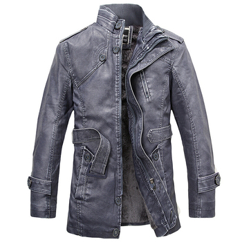 Leather Jacket Men Long Wool Leather Standing Collar Jackets Coat Warm Outwear Parka Mens PU Leather Jackets And Coats