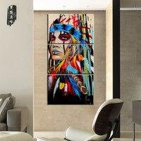картины модульные на стену Холст картины американских индейцев девушка Пернатый современные стены комнаты Книги по искусству Плакаты отпе...