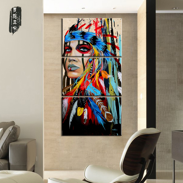 Canvas Painting Native American Indian Girl Feathered Modern Room ...