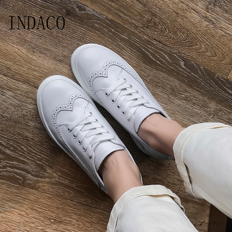 2019 White Sneakers Women Leather Platform Sneakers Height Increased Casual Shoes 6 5cm