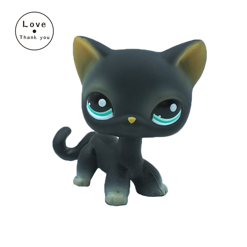 Pet Shop Toys Standing Short Hair Cat #994 Animal  Cute Kitty Black Kitten With Blue Eyes