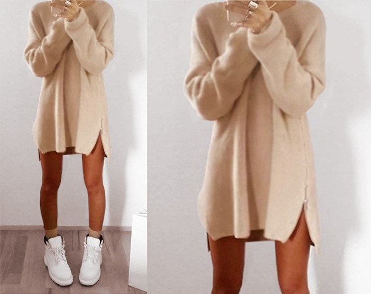 2017 Autumn and Winter New Casual Relaxed Long sleeved Zipper Sweater Dress