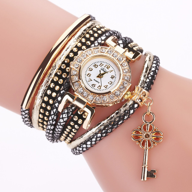 Duoya Fashion Women Key Pendant Watch Vintage Leather Band Analog Quartz Wrist W