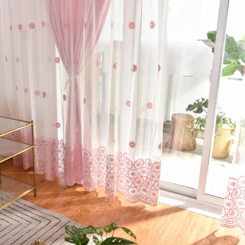 Sun Flower Curtain Pink Sheer Voile for Living Room Curtain for Window Bedroom Blue Drapes Tulle Curtain Custom Blinds 069&30