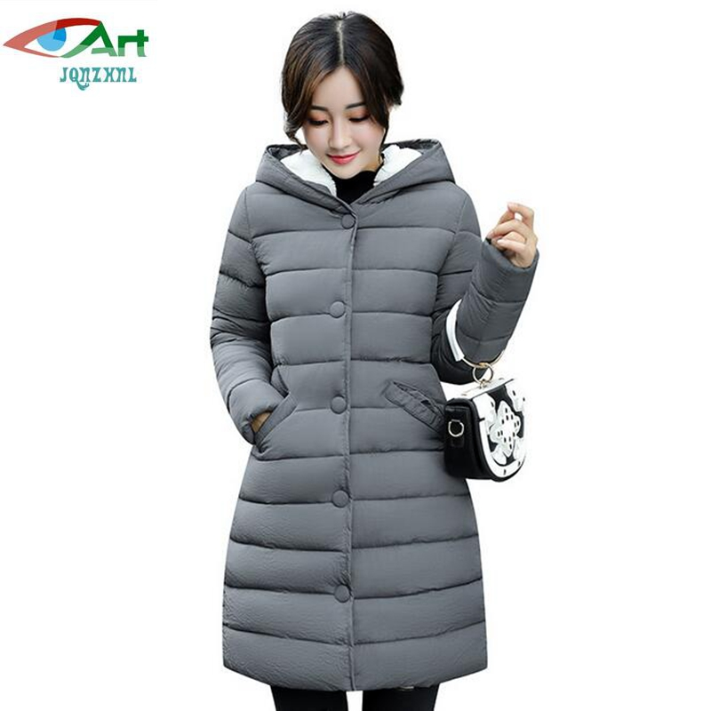 Plus Size 3XL Women Cotton Coat Outerwear 2017 New Winter Thicken Down Cotton Coats Female Slim Hooded Coat Parkas E592 JQNZHNL winter jackets coats new down cotton jacket women parkas thicken hooded outerwear slim large size medium long female coat k616