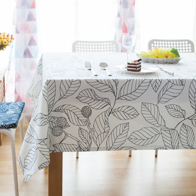 YQM Promotion Modern Style Black And White Leaves Print Table Cloth For  Party Picnic Hotel Home