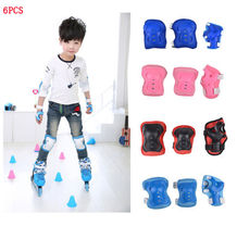 6PCS Kid Skateboard Roller Blading Elbow Knee Wrist Protective Gear Pad Guard