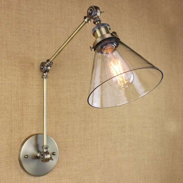 Online shop retro swing arm wall lampglass shade vintage wall image mozeypictures Gallery