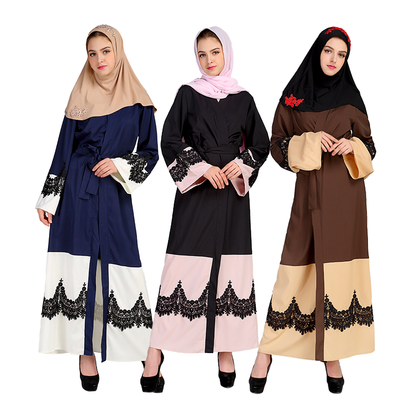 Malaysia Cardigan Clothing Turkey Abaya Dubai Muslim Women Speaker Sleeve Lace Dress Tur ...