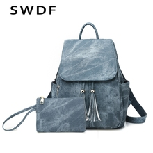 цена на SWDF Luxury Designer Women Backpack High Quality PU Leather Backpacks For Teenage Girls Female School Shoulder Bag Girl Purse