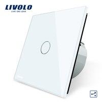 Livolo EU Standard Wall Switch 2 Way Control Switch Crystal Glass Panel Wall Light Touch Screen