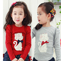 Hot selling Size100~140 child spring autumn clothes kids tops tees girls long sleeve bottoming t shirts children t-shirts cat