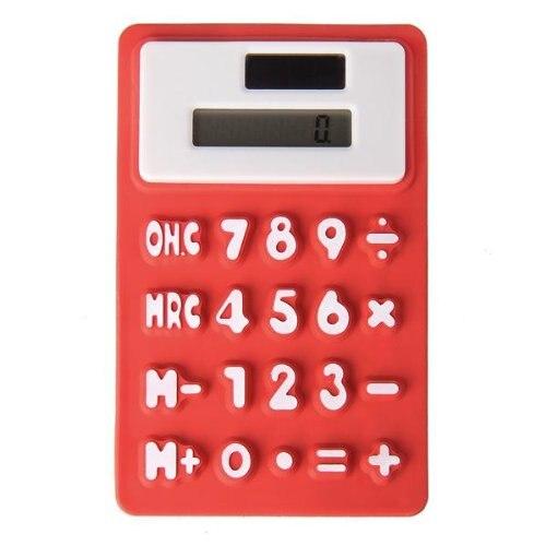 Карманный Солнечный офис силикона красный 8 разрядный калькулятор