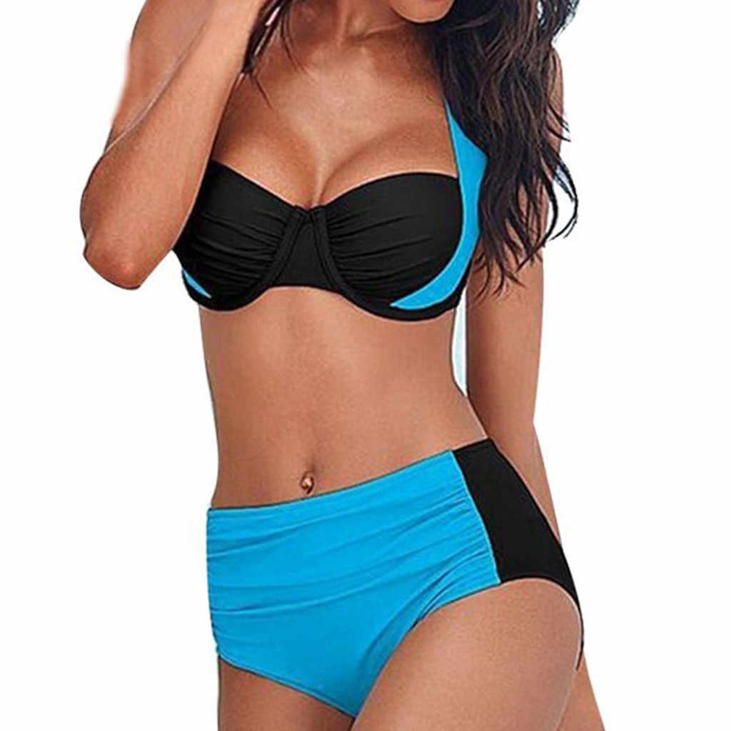 女性水着の三角形のセクシーなビキニセット水着ビキニビーチウェアプラスサイズスプライシング包帯プッシュアップ水着タンキニ女性