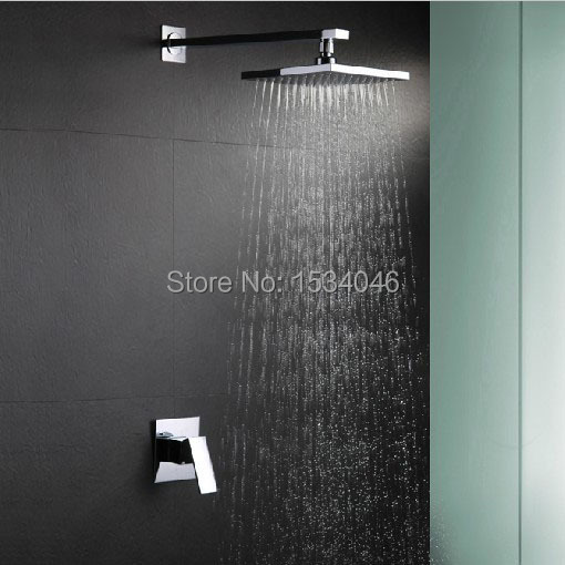 ФОТО Free shipping wall mounted single handle hot and cold bathroom mixer faucet shower sets with ABS 9 inch big size shower head