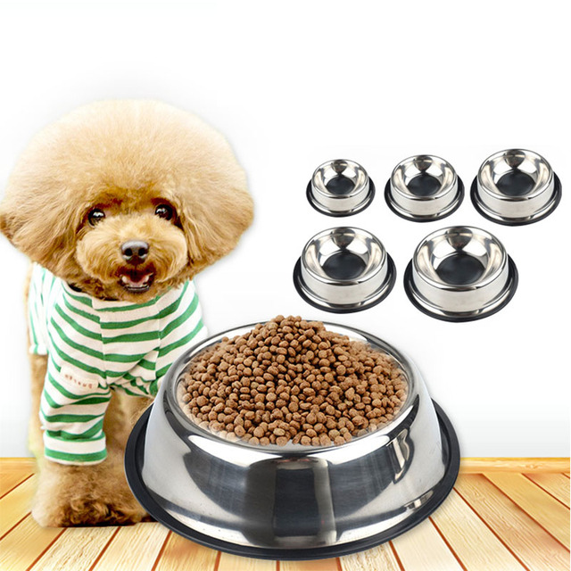 Simple Dog Bowl Pet Travel Feeding Bowl Stainless Steel Anti Slip Dog Cat  Drinking Food