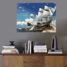 WEEN Sailboat Painting By Numbers Seagull Coloring By numbers On Canvas DIY Ocean Hand painted Wall Art Decor No Frame