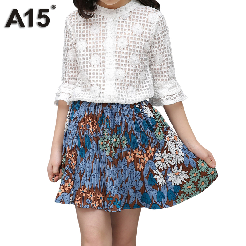 A15 Children Girls Clothing Sets Teenage Summer Girl Clothes Cotton Lace T Shirt Blouse + Flower Skirts Big Size 8 10 12 14 Year a15 girls jackets winter 2017 long warm duck down jacket for girl children outerwear jacket coats big girl clothes 10 12 14 year