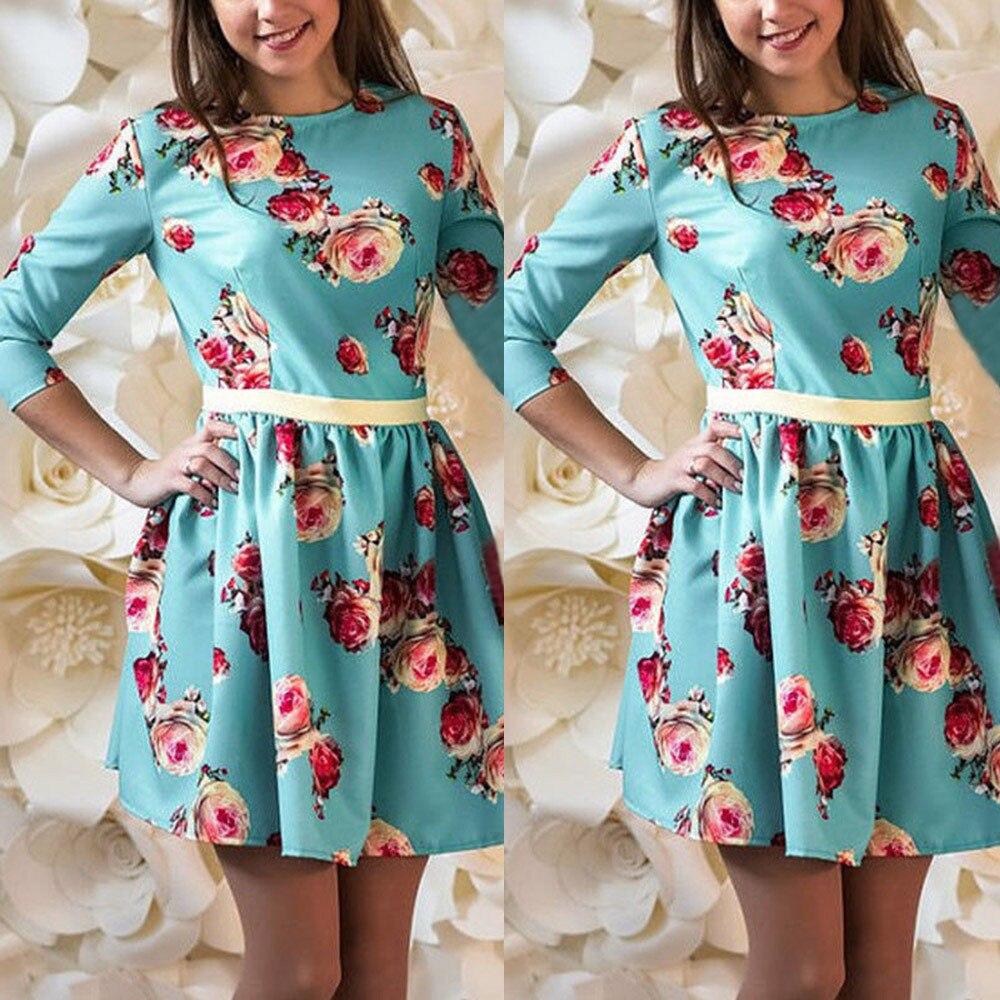 Kancoold новое платье высокого качества Цветочный принт сарафан с длинным рукавом Тонкий сращивания платье семейная Одежда Платье Женщины mar13